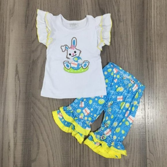 Boutique Easter Bunny Rabbit Girls Outfit Set